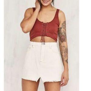 BDG/ off white denim frayed skirt